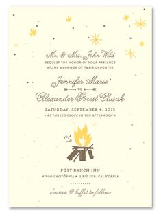 Unique Outdoor  Wedding Invitations on Plantable Paper ~ By The Campfire by ForeverFiances Weddings