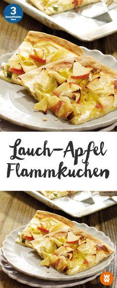 Leckerer, vegetarischer Flammkuchen mit Lauch und Apfel, 3 SmartPoints/Portion, leicht gemacht, Weight Watchers Rezept