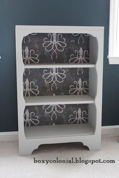 Boxy Colonial: vintage bookcase made over with squid fabric