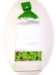 Froggie Hand Towel With Spring Green Crocheted by MeAndMomsCrafts