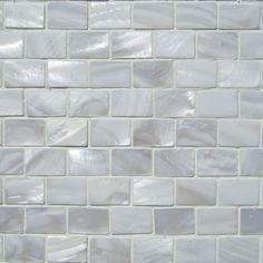 White Mother Of Pearl Minibrick Border Topps Tile