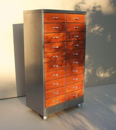 Vintage Industrial Metal & Wood Cabinet with 20 Drawers / Storage Organization / Repurposed Handmade / Custom / Red Orange Silver. Would be awesome for storage in the garage. Industrial Metal, Industrial Furniture, Vintage Industrial, Industrial Style, Home Furniture, Vintage Wood, Small Storage Cabinet, Storage Cabinets, Storage Drawers