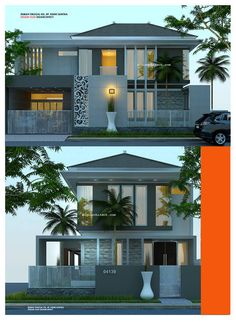 Desain Rumah Minimalis 2 Lantai Kavling Hook Bungalow House Design, Modern House Design, Modern House Plans, Small House Plans, Casa Mix, Villa, Dream House Exterior, Facade House, Model Homes