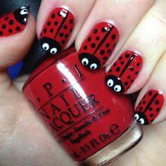 Lady birds, want to try this now! Need a white nail art pen – Katrina Rebeca Lady birds, want to try this now! Need a white nail art pen Lady birds, want to try this now! Need a white nail art pen Manicure Nail Designs, Red Nail Designs, Simple Nail Art Designs, Short Nail Designs, Easy Nail Art, Nail Manicure, Nail Polish, Manicures, Manicure Ideas