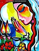 Beauty of Shabbat original Jewish paintings contemporary Jewish fine art by artist Martina Shapiro.