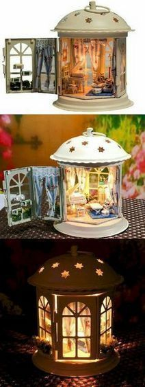 Miniature garden and doll house accessories used to create a lantern house. find miniature garden accessories in our online store Shelley B Home and HolidayCute lantern fairy house, great for fairy gardens!Fairy Lantern House-I've been thinking I wanted t Fairy Crafts, Diy And Crafts, Crafts For Kids, Kids Diy, Fairy Doors, Miniature Fairy Gardens, Miniature Houses, Mini Gardens, Miniature Dollhouse