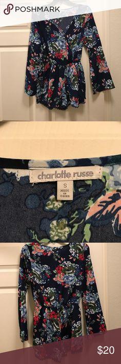 Romper Cute long sleeve floral romper, never been worn! Charlotte Russe Pants Jumpsuits & Rompers