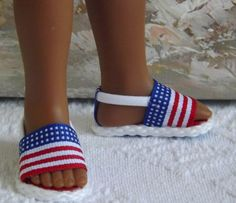 """Hearts 4 Hearts Corolle Les Cheries Sandals Shoes American Flag Theme Red White and Blue Fits 13"""" Doll"""