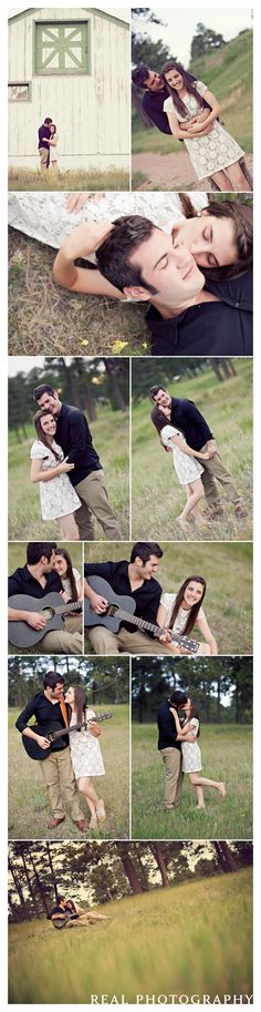 sweet engagement portraits with barn, rural road, and guitar