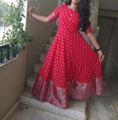 🌹🌹🌹🌹 Ikkat cotton designer long frocks at (PID: Kurti Designs Party Wear, Kurta Designs, Blouse Designs, Indian Designer Outfits, Indian Outfits, Designer Dresses, Kalamkari Dresses, Ikkat Dresses, Anarkali Dress