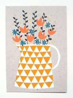 I don't like this print particularly but I do love the yellow/white triangle combo.  I need to think how I might be able to use it....