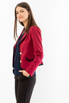 Knit Blazer with Contrast Detailing Red Leather, Leather Jacket, Knit Blazer, Suzy, Contrast, Detail, Knitting, Womens Fashion, Jackets