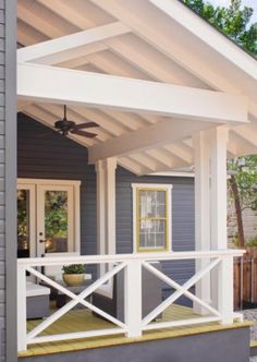 Front porch upgrade- love the painted deck floors and ceiling beams.