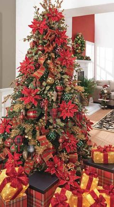 Pretty Tree: Large Red Poinsettas On Tree - Packages wrapped in Red Ribbon