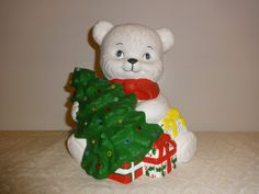 Ceramic White Teddy Bear with Ceramic Christmas by VintageyItems