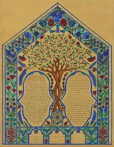 Turkish Motif Ketubahs - Custom Ketubah Illuminated Manuscript, Hamsa, 17th Century, Watercolor Paper, Pottery, Ink, Knitting, Prints, Design