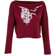 Feather Birds Print Crop Top Shirt Womens Ladies Crop Sweat ($15) ❤ liked on Polyvore featuring tops, hoodies, sweatshirts, black, crop tops, women's clothing, feather top, black feather top, bird shirt and crop top