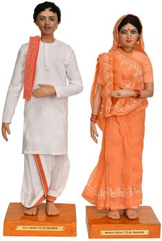 Man and Woman from Uttar Pradesh, Dolls Papier Machie Traditional Dresses Images, Indian Traditional Paintings, Traditional Outfits, Baby Doll Clothes, Doll Clothes Patterns, Clothing Patterns, Dress Sketches, Fashion Sketches, Homemade Dolls