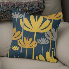 «Bali Flowers Floral Pattern in Mustard, Gray, and Navy Mustard Living Rooms, Yellow Orchid, White Throw Pillows, Welcome Gifts, Shades Of Yellow, Dream Rooms, Home Decor Items, Mustard Yellow, Framed Art Prints
