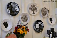 silhouette plates :: created with vinyl stencils