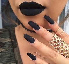 Pretty Matte Nail Designs Beautiful nail art love this matte nai art. i will try some of these simple but amazing nail art ideas todayBeautiful nail art love this matte nai art. i will try some of these simple but amazing nail art ideas today Black Acrylic Nails, Matte Black Nails, Best Acrylic Nails, Acrylic Nail Designs, Black Coffin Nails, Black Acrylics, Black Polish, Acrylic Nails Autumn, Black Manicure