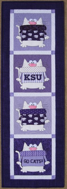 Super cute K-State wallhanging by Amy Bradley Designs - I love that the 'Cats are cats :D