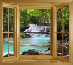 WIM78 - Gorgeous view of a river in the autumn forest, window scene wall mural peel and stick decal. £57.00, via Etsy.