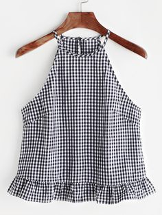 Gingham Buttoned Keyhole Back Frill Halter Top Shop Gingham Buttoned Keyhole Back Frill Halter Top online. SheIn offers Gingham Buttoned Keyhole Back Frill Halter Top & more to fit your fashionable needs. Halter Tops, Cami Tops, Mode Top, Summer Tank Tops, Diy Clothes, Blouse Designs, Gingham, Blouses For Women, Ideias Fashion
