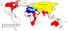 The British, Roman and Mongol Empire in one map