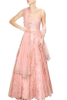 Rose pink floral swaroskovi crystals and pearls embroidered gown available only at Pernia's Pop Up Shop.