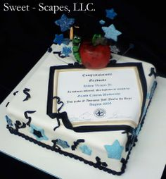 Graduation cake idea but delete the apple and put a graduation hat. The fancy one for the PhDs :).