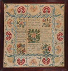 ANNA LOBDELL Ann Marsh School Philadelphia, PA 1761 This rare mid-18th century compartmented verse and flower sampler is one of only a fe...