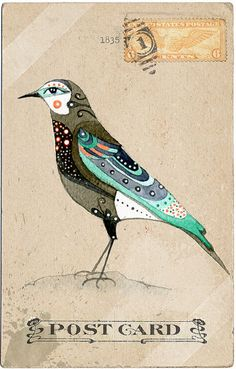 Vintage Post Card -- Bird. | Use color combination and pattern on totems.