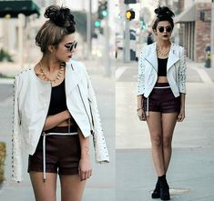Sunglasses, Revlon Blackberry Lipstick, Spiked Necklace, White Pleather Jacket, Sports Bra, Oxblood Shorts, Vintage Snake Belt(Look Below For Details), Vintage Velvet Boots