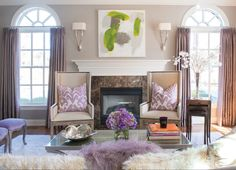 living room with light mauve walls and lavender accents (Benjamin Moore, Slip)
