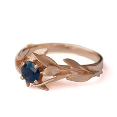 Leaves Engagement Ring - 18K Rose Gold and Sapphire engagement ring, engagement ring, leaf ring, antique, September Birthstone,Recycled gold