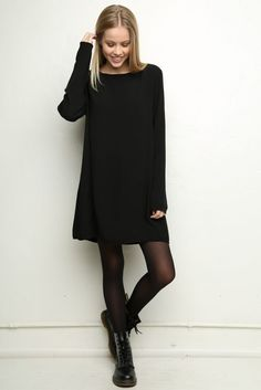 Minimal trends | Basic long sleeves black mini dress with tights and boots
