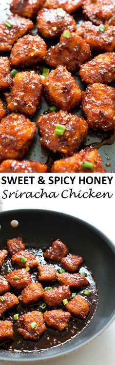 Sweet and Spicy Baked Honey Sriracha Chicken. Takes less than 30 minutes to make and is so much better than take-out! | chefsavvy.com #recipe #chicken #honey #sriracha