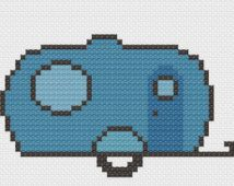Small Camper Cross Stitch Pattern - RV - Camping - Glamping - Happy Camper RV Cross Stitch - Tiny Cross Stitch - Instant Download
