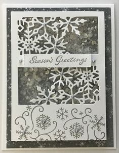 Snowflake Designs, Shaker Cards, Paper Pumpkin, Giving, Stampin Up Cards, I Card, Card Stock, Birthday Cards, Christmas Cards