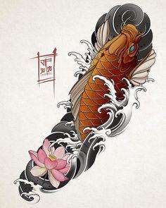 Koi Tattoo Design, Japan Tattoo Design, Koi Tattoo Sleeve, Japanese Sleeve Tattoos, Japanese Koi Fish Tattoo, Japanese Tattoo Designs, Hanya Tattoo, Theme Tattoo, Chest Piece Tattoos