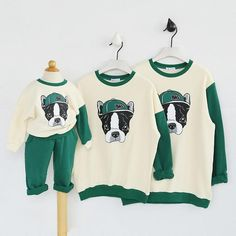 Family Pullovers Autumn Cartoon Dog Cotton Clothes Mother Father Kids Family Look Baby Clothing Family Matching Outfits Green Sweater Shirt, T Shirt, Matching Family Outfits, Matching Clothes, Mother Daughter Outfits, Baby Boy Clothing Sets, Kids Tops, Printed Sweatshirts, Comfortable Outfits