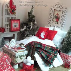 Miniature Dollhouse Christmas Bed