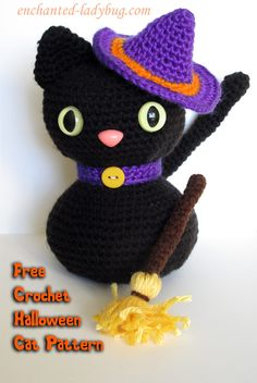 """Free Crochet Amigurumi Halloween Black Cat Pattern - PDF Format click """"Free Download Here"""" at the end of the post (Green Letters)"""