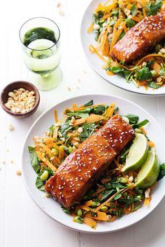 Simple Hoisin Glazed Salmon - a super easy homemade glaze makes this salmon extra yummy! 300 calories.   http://pinchofyum.com #healthy #salmon #recipe