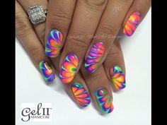 Neon Rainbow Water Marble Nail Art   China Glaze Electric Nights - YouTube