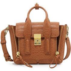 3.1 Phillip Lim Pashli Mini Leather Satchel Bag (1 039 AUD) ❤ liked on Polyvore featuring bags, handbags, brown handbags, leather satchel, handbag satchel, brown leather purse and brown leather handbags