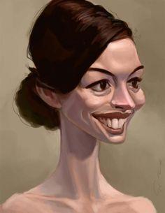 Celebrities caricature - Anne Hathaway by Bangalore Monkey http://www.deviantart.com/