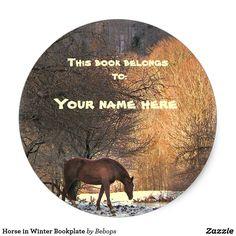 Horse in Winter Bookplate