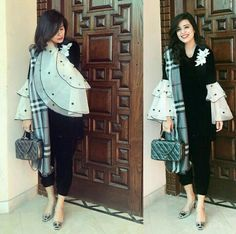 Good idea - team up your burberry with a suit Stylish Dress Designs, Stylish Dresses, Fashion Dresses, Kurti Sleeves Design, Sleeves Designs For Dresses, Kurti Designs Party Wear, Kurta Designs, Pakistani Dress Design, Pakistani Outfits